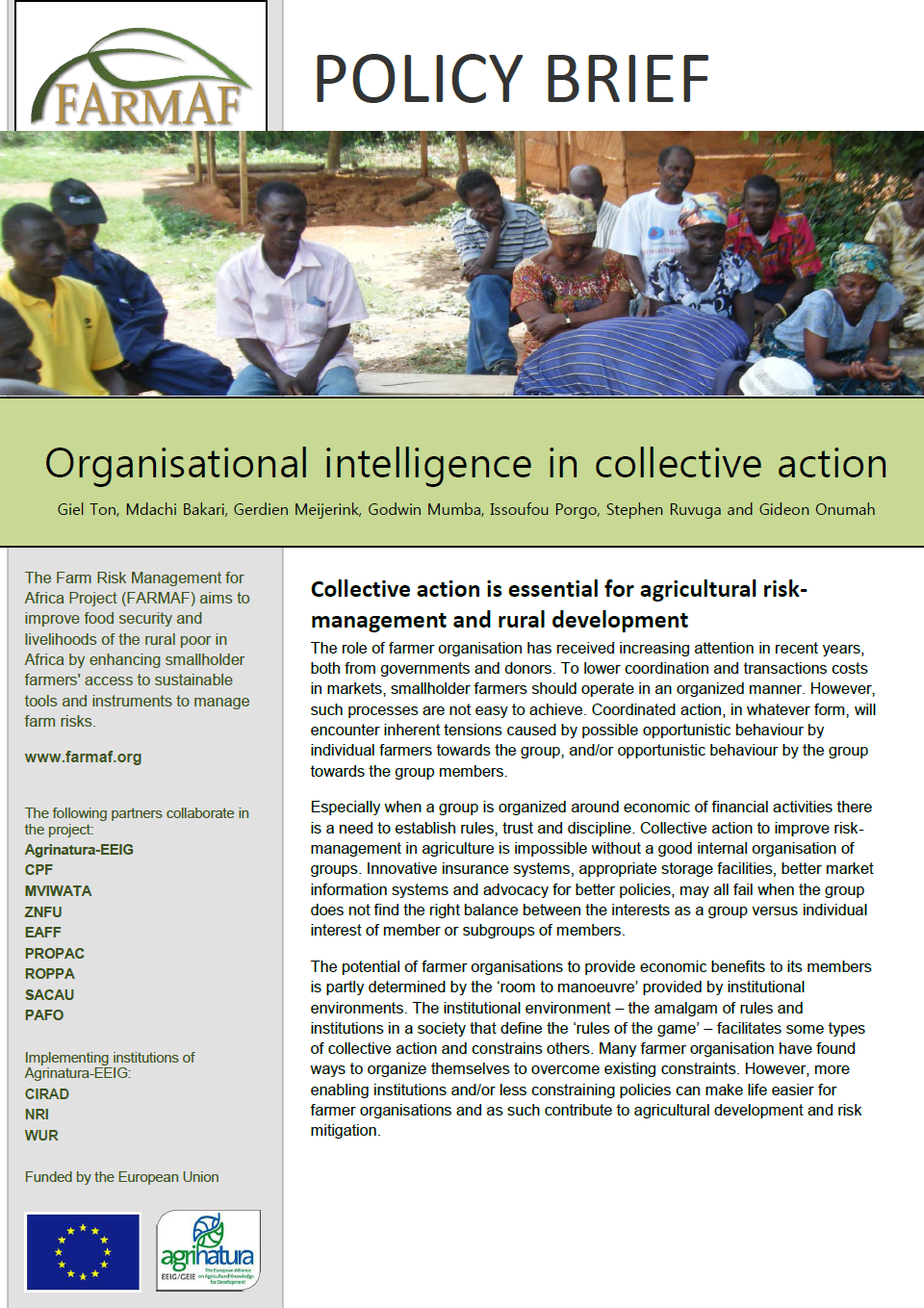 farmaf policy brief collective action