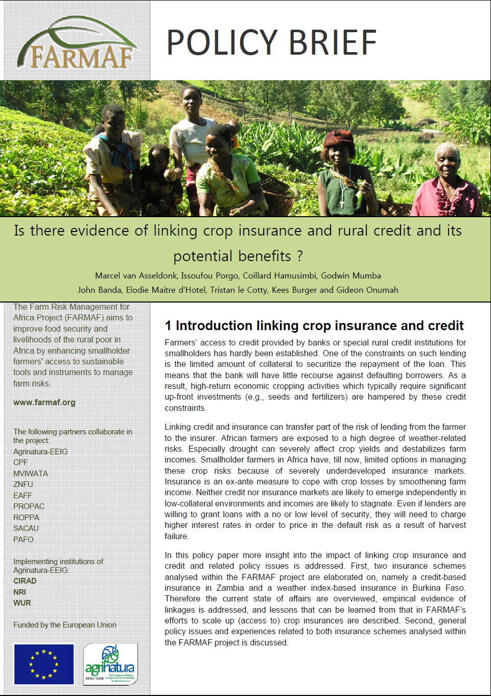 farmaf policy brief insurance